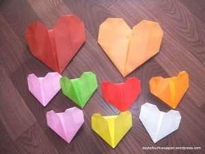 Origami hearts valentines craft