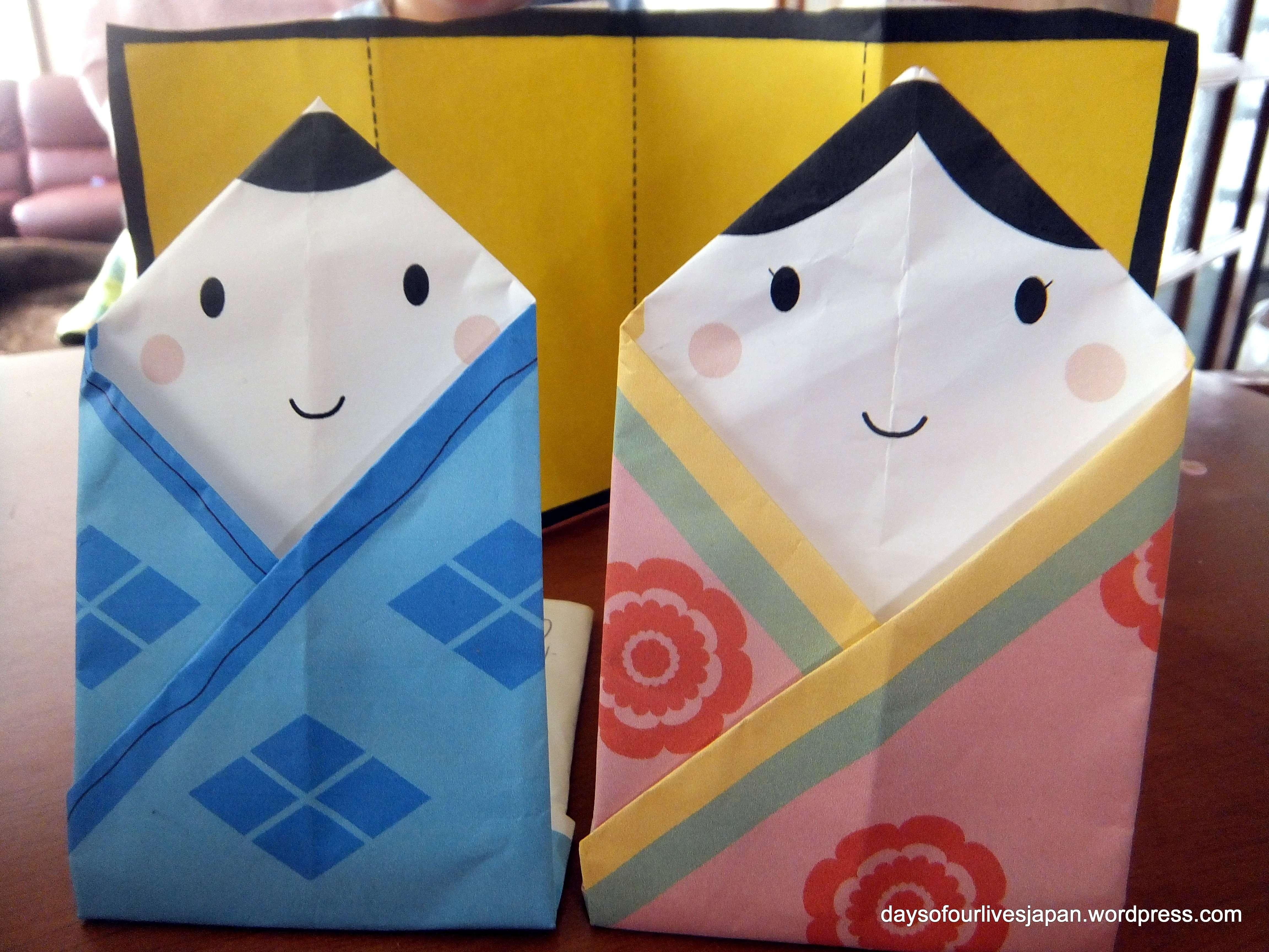 origami dolls for hina matsuri