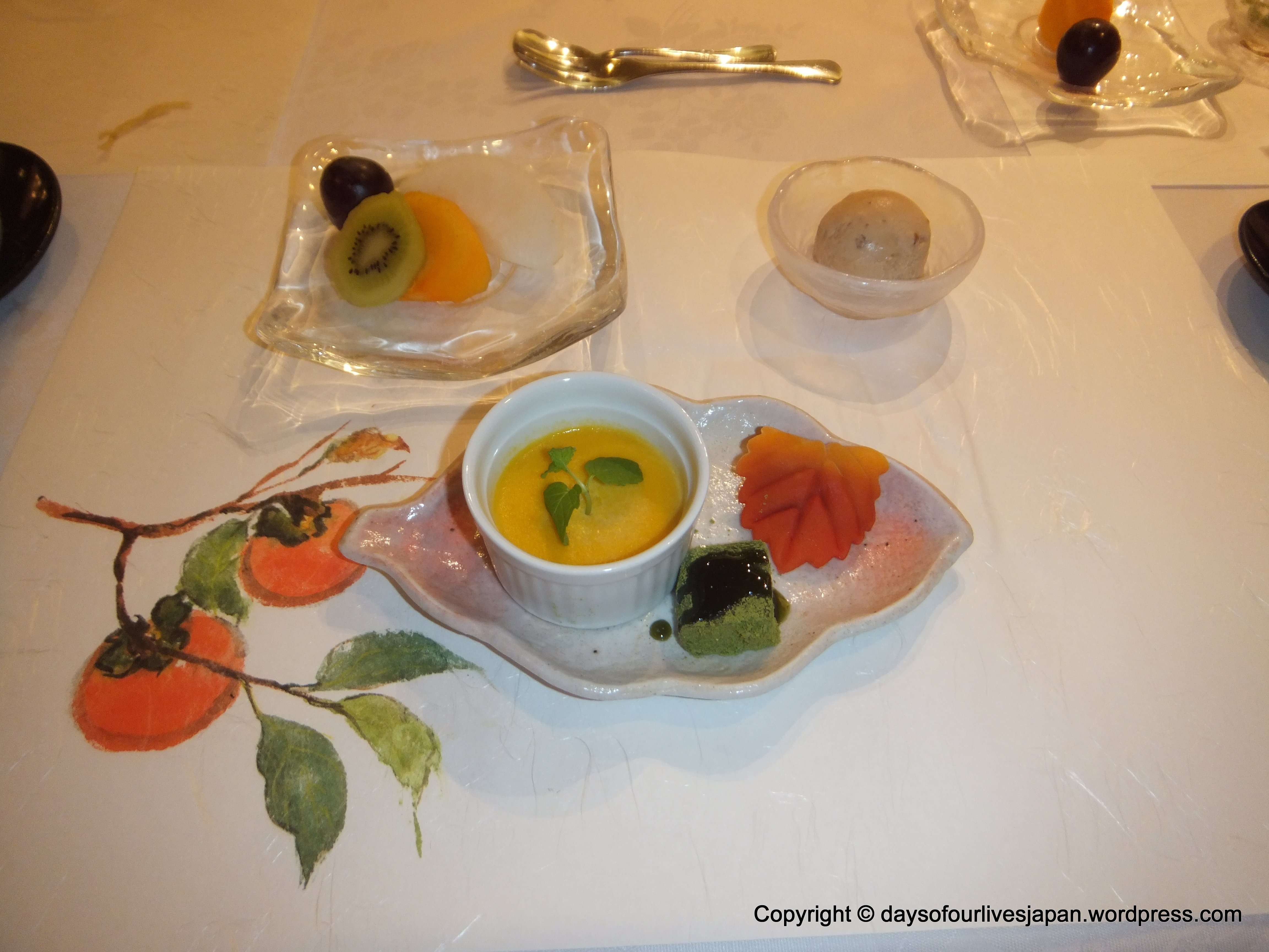 Dessert of dinner on day 1. Wagashi provided for free at a maternity hotel in Japan