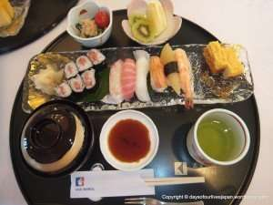 More sushi was brought throughout the mealtime.