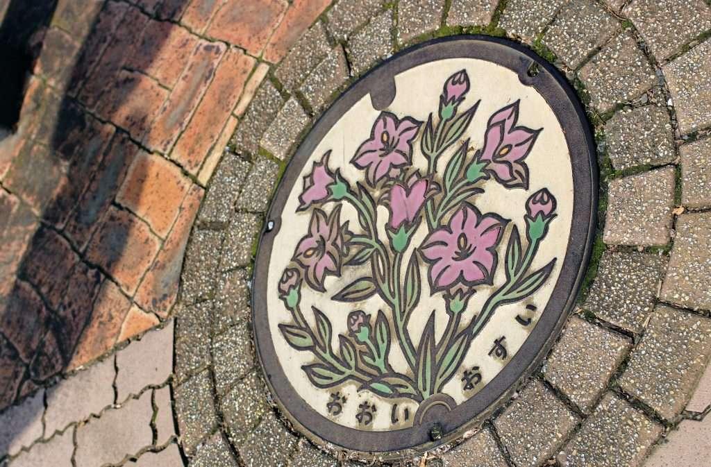 Flower manhole cover art