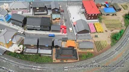Lifelike model railway town at the steam locomotive cafe in lalaport Fujimi