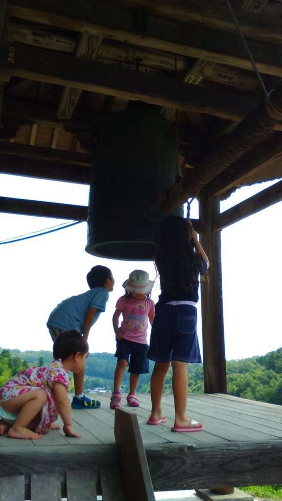 Ringing the bell at Iwadono Kannon, Spectacular view from the bell platform