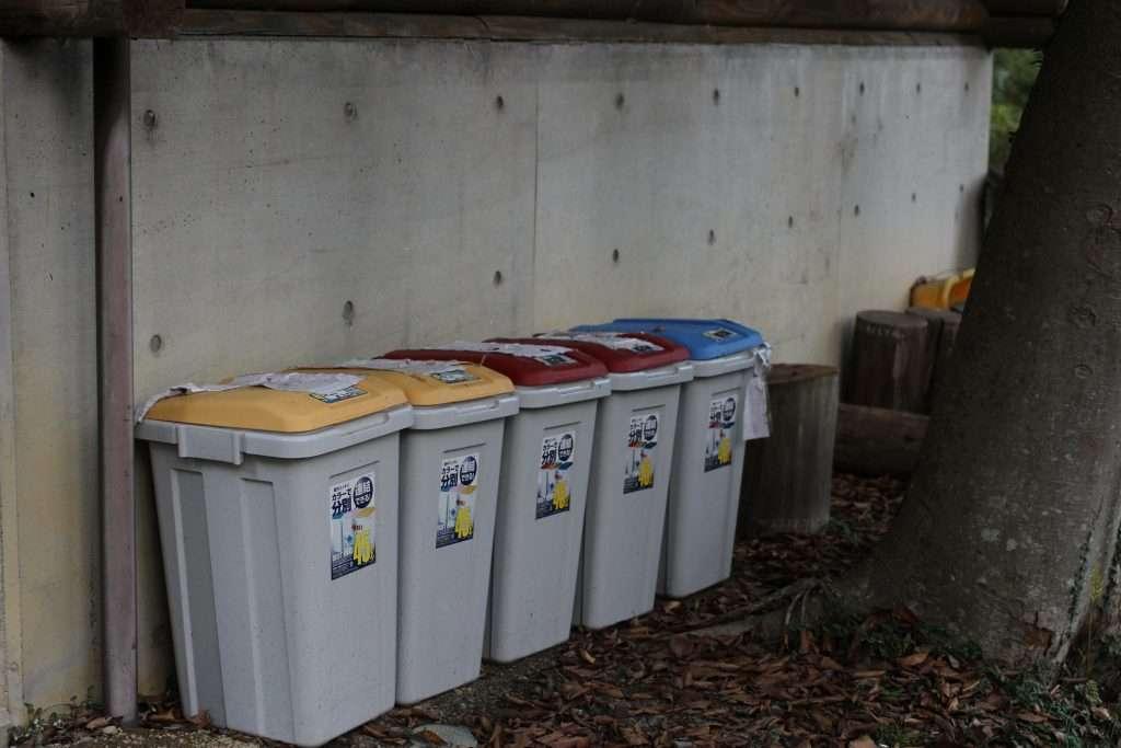 Midori No Mura campsite recycle bins at sink area