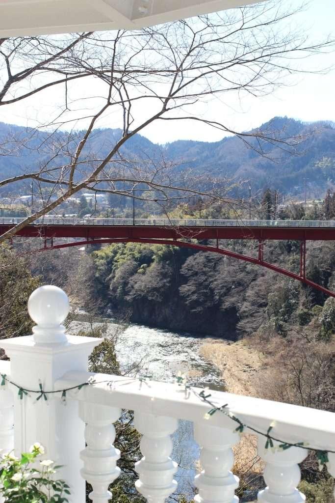 View of Tama river and Jindai Bridge at rose town tea garden ome