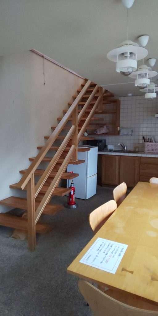 downstairs in the cottage cabin at yoshida genki mura Kakkaku dam