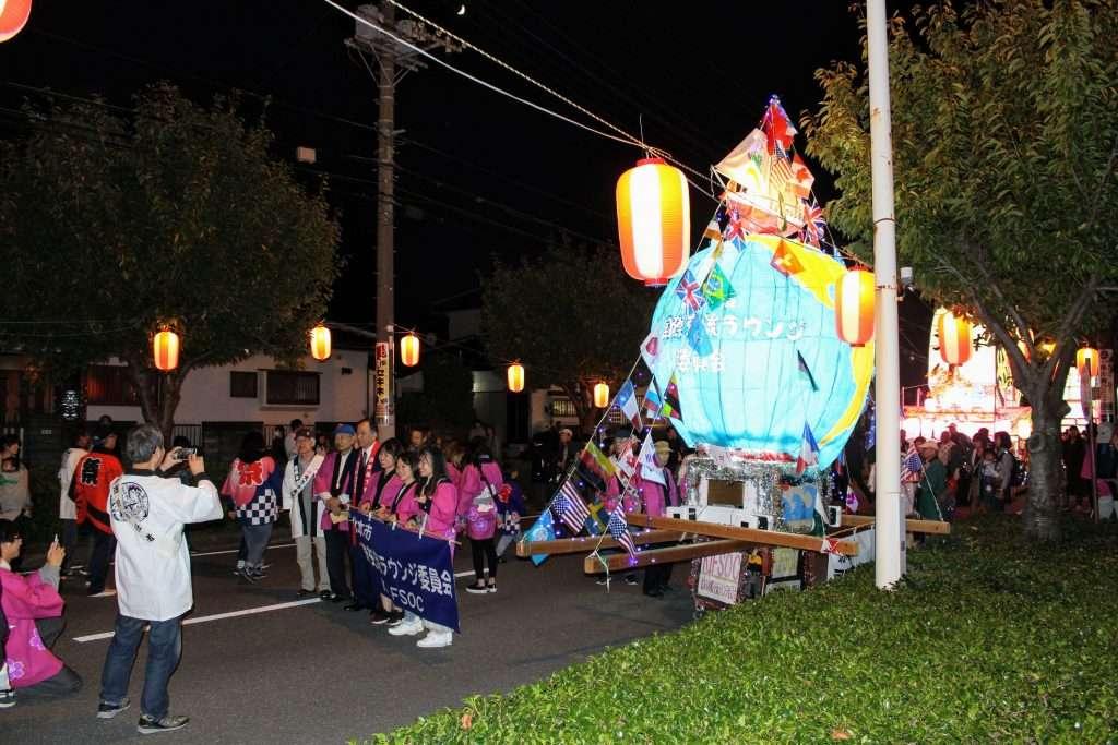 Lantern float by the international community at Kitamoto Neputa Festival
