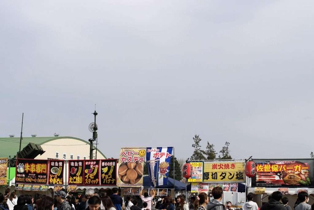 Festival stalls at Kumagaya Air base sakura festival