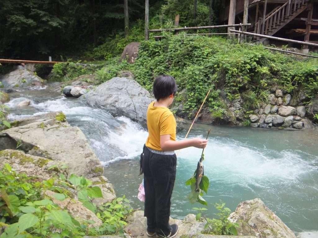 Fishing in the Toki River Kinomura Campsite Tokigawa