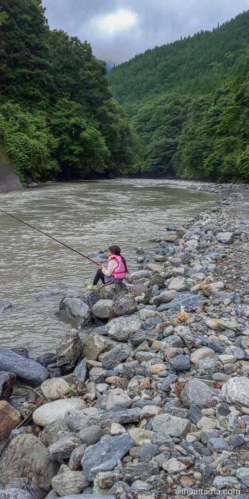fishing on the arakawa (ara river) in otaki chichibu in saitama prefecture
