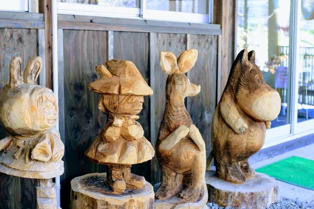 Chainsaw Wood Art of Moomin characters at Finland No Mori