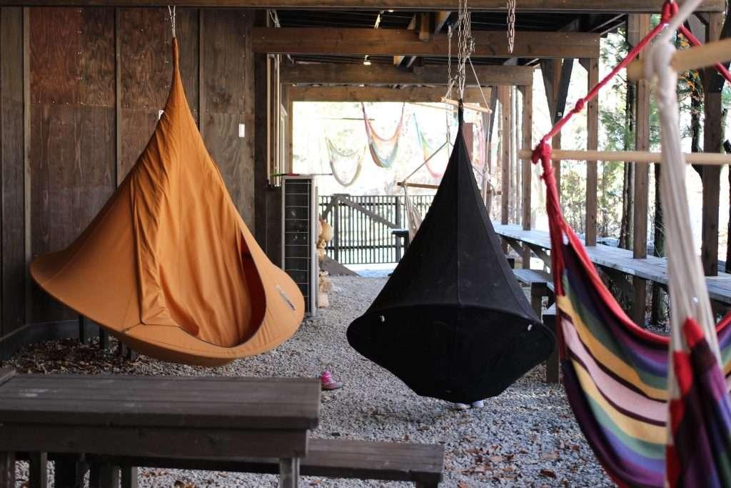tent hammocks at Finland no Mori Nasu Tochigi