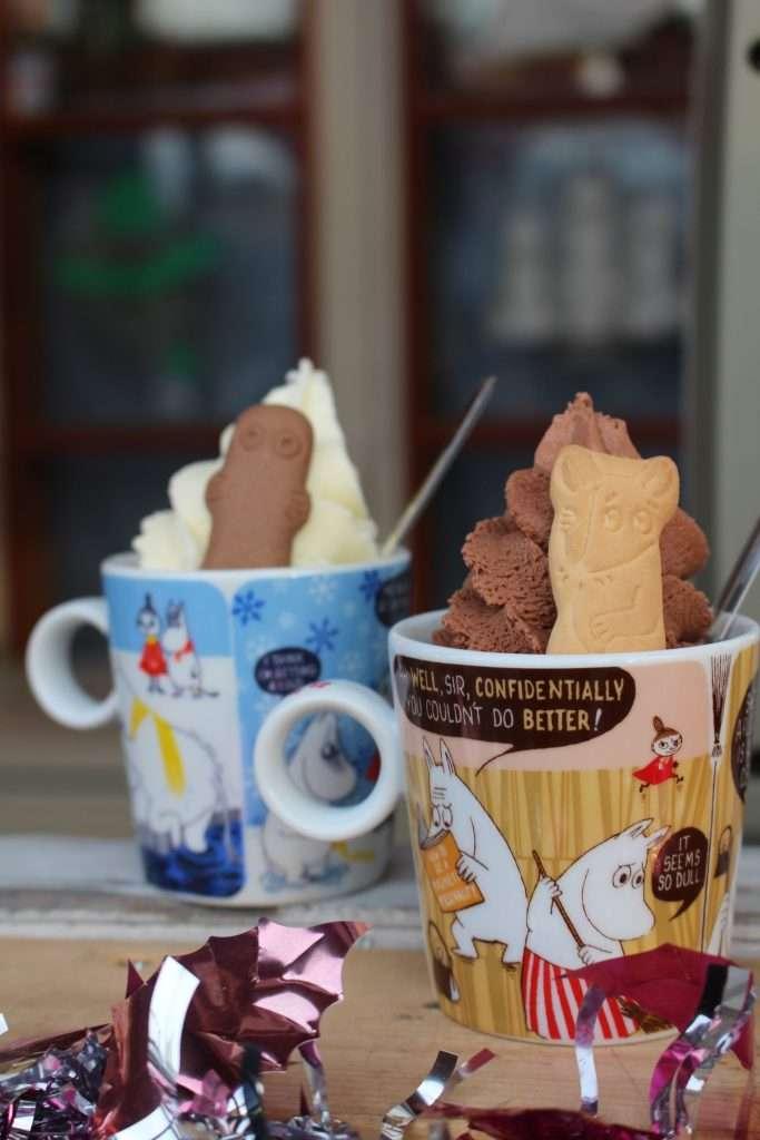 Ice cream in a take-home Moomin Cup at Finland no Mori