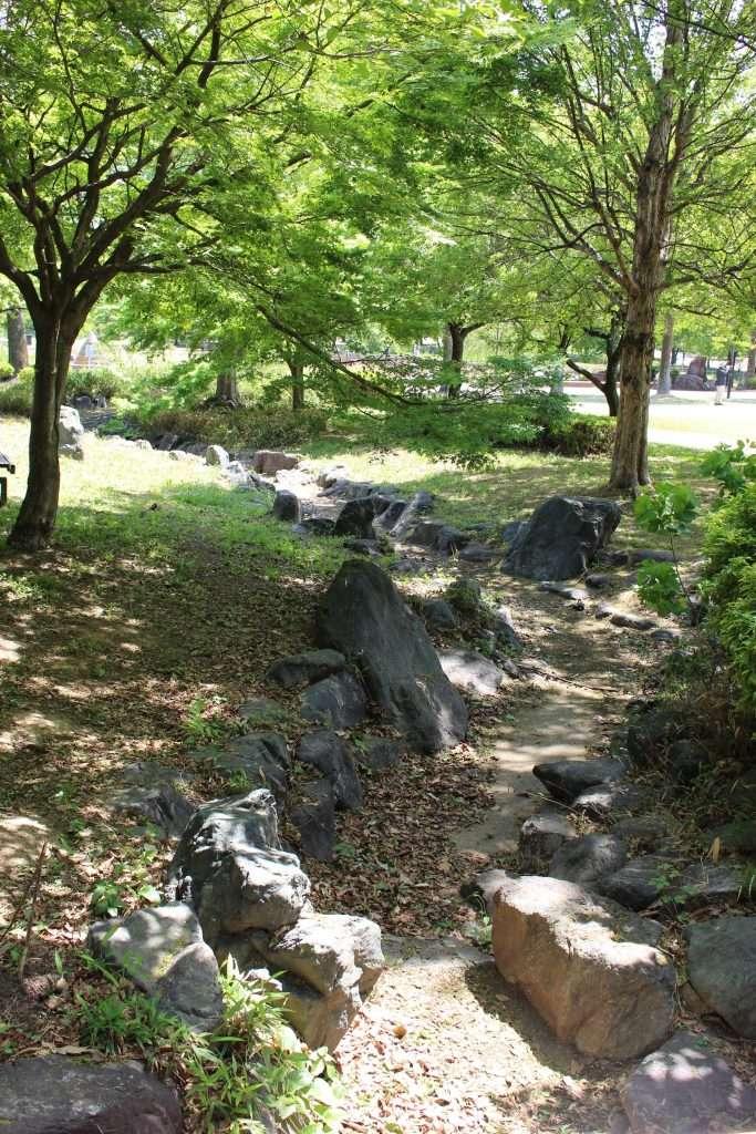 Wading river out of season at Honjo Park