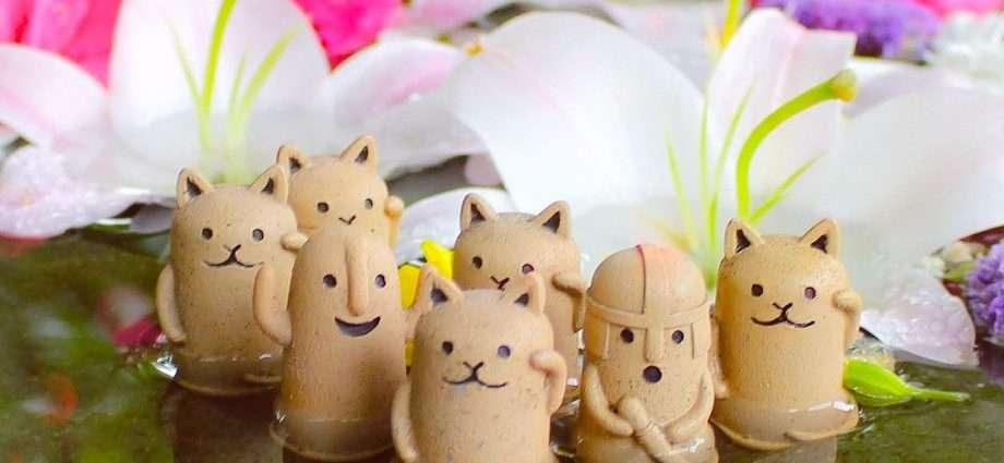 Miniature Haniwa clay figures in a floral font at Sakitama Shrine Gyoda